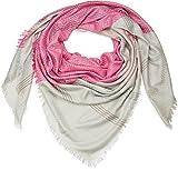 styleBREAKER XXL Vierecktuch mit Rauten Muster und Streifen im Ethno Style und Fransen, Schal, Tuch, Damen 01016128, Farbe:Hellgrau-Pink