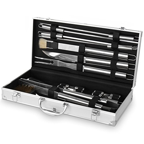 Broil-master Set accessori posate barbecue grigliata kit accessori barbecue in acciaio inox da 18 pezzi
