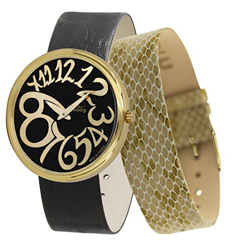 Moog Paris Ronde Art-Deco Women's Watch with Black Dial, Black Strap in Genuine Leather - M41672-E33
