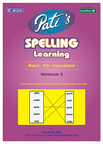 Pati's Spelling Learning 5 work book for children - Spelling Bee help - English words learning