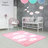 Kinder-Zimmer-Teppich im bunten Wolken Design oder Uni Farben | rund oder rechteckig | Ideal für Jungen, Mädchen oder im Baby-Zimmer | Ökotex Zertifiziert (Rosa - Wolken, 80 x 150 cm)