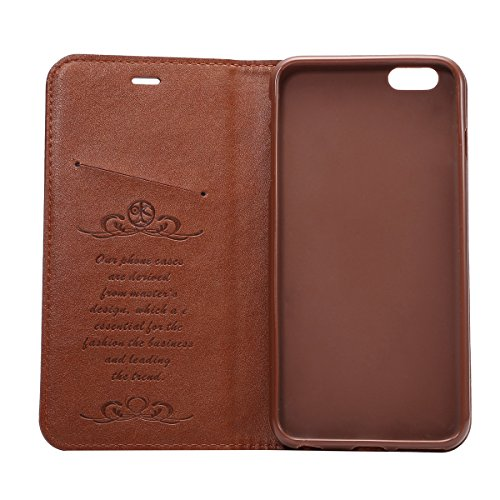 iPhone 6 Plus / iPhone 6s Plus Custodia, TOTOOSE per iPhone 6 Plus / iPhone 6s Plus Crazy Horse Pattern PU pelle Case con Flip Stand Funzione e slot per schede TPU Silicone Morbido Cover