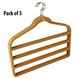 5 Piece Velvet Non-Slip Trouser/Towel/Shawls Hanger Set. (Light Brown)
