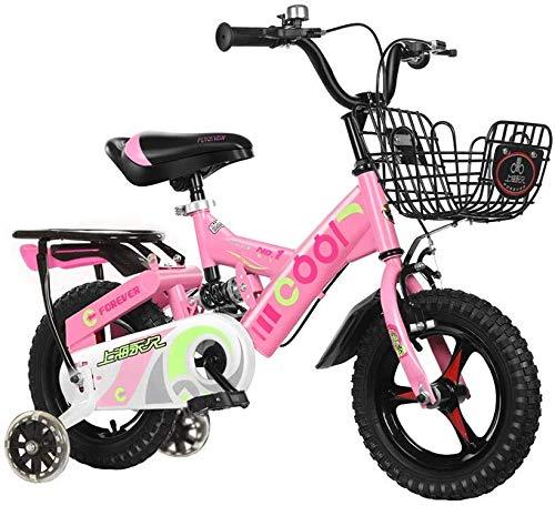 WLD Kinderfahrrad , Kinderfahrrad Kinderfahrrad Kinderwagen Multifunktionsfahrwerk Einrad Flash Assist Rad 2-3-5-9 Jahre alt Babygebrauch,Rosa,12 Zoll