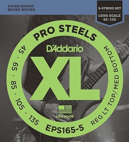 D'Addario Cordes pour basse 5 cordes D'Addario ProSteels EPS165-5, Custom Light, 45-135, cordes longues