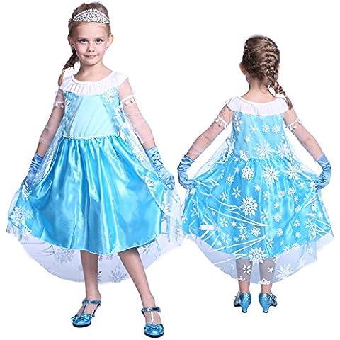 Anladia - Disfraz de Elsa Frozen Prestige para niña Talla S M L 90-120cm (L (110-120cm))