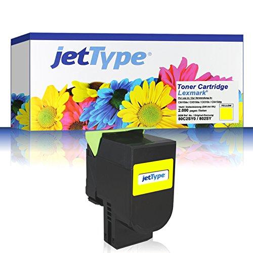 Preisvergleich Produktbild jetType Toner ersetzt Lexmark 80C2SY0 802SY für CX410de / CX510de / CX310n / CX410dte / CX410e, gelb, 2.000 Seiten