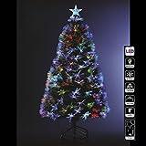 Albero di Natale in fibra ottica + 136 cristalli di ghiaccio + 8 giochi di luce - Altezza 120 cm