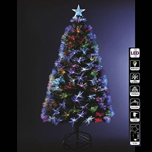 Sapin de Noël artificiel lumineux avec fibre optique + 136 LED MULTICOLORE + 8 Jeux de lumière - livré avec son pied - Hauteur 120 cm - Féerique !