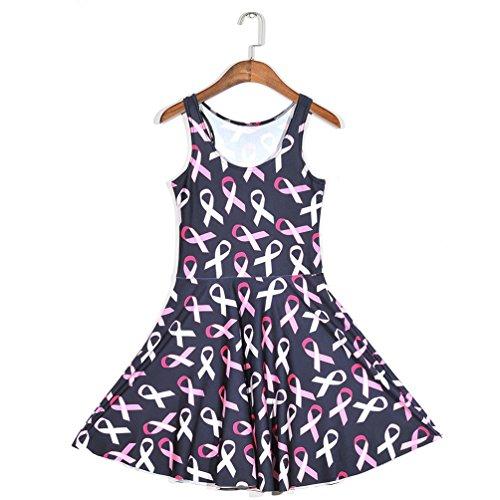JTC Femme Robe Court Sans Manche en Fibre Polyester Seul une Taille Fille rose motif