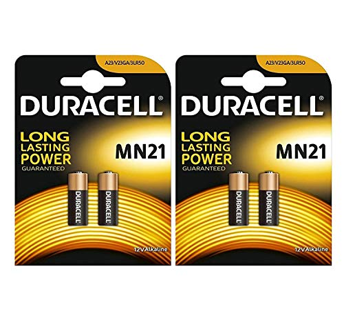 4X Duracell Alkaline Sicherheit A23 / K23A LRV08 GP23 12V MN21 2017 LRV08 V23GA LR23A 2665c 23A L1028 Einweg-Batterie (Batterie A23s)