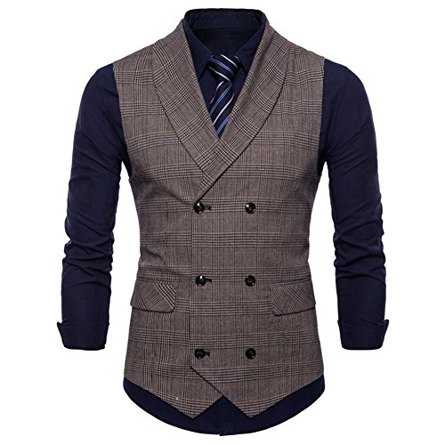 GWELL Herren Anzugweste English Style Kariert Slim Fit Business Basic Casual Weste Zweireiher Braun L
