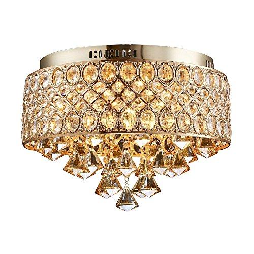 C-K-P Flush Mount Gold Led Deckenleuchte Led Kristall Lichter E14 Birne Deckenleuchte Innenbeleuchtung Küche Dia 38,5 Cm - Dia Flush