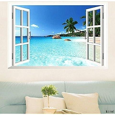 korel? grande extraíble playa mar 3d ventana de vinilo adhesivo de pared Home Decor Exotic Beach View Art