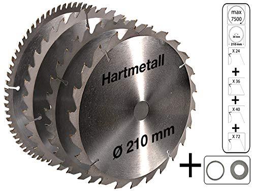 4 tlg Set Kreissägeblatt Hartmetall 210 x 30 mm 24 Z + 36 Z + 40 Z + 72 Z