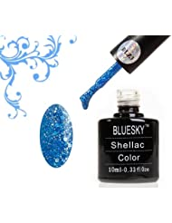 Blue Sky Vernis gel soak off Gel UV LED Vernis à ongles, bleu mer BLZ 3 Diamond Glitter Paillettes 10 ml