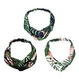 UTOVME 3 Stück Damen Haarbänder Bananenblatt Flamingo Gedruckt Elastische Chiffon Stirnbänder Frauen Weiche Headwraps