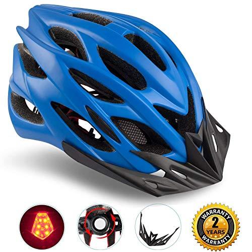 Shinmax Specialized Bike Helm mit Sicherheitslicht, Verstellbare Sport Fahrradhelm Fahrrad Fahrradhelme für Road & Mountain Biking, Motorrad für Erwachsene Männer und Frauen, Jugend - Racing, Sicherheit Schutz (Blau)