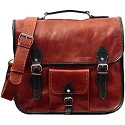 LE GRAND EXPRESS (M) color natural, Maletín bandolera de piel , carpeta con la correa de hombro, estilo vintage (apropiado para A4), color marrón PAUL MARIUS
