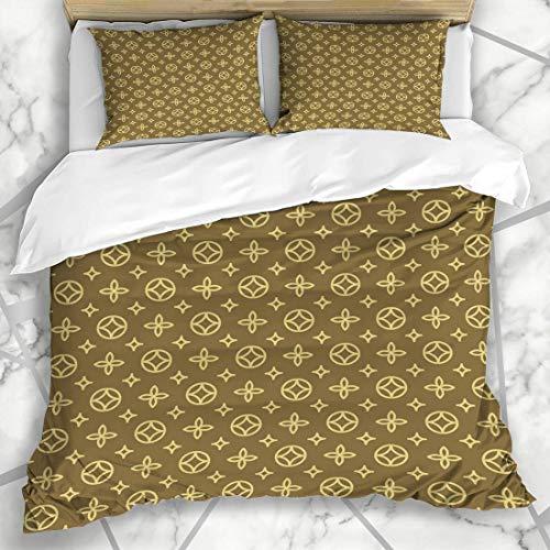 Soefipok Bettbezug-Sets Koffer Vuitton Geometrisches Blumenmuster Abstrakt Louis Pram Blossom Canvas Teppich Design Mikrofaser Bettwäsche mit 2 Kissenbezügen