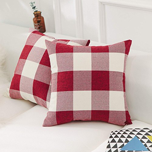 CHICCAT Retro Farmhouse Dekoratives Kissen Bezüge Checkered Plaid Baumwolle Leinen Überwurf Kissenbezug Kissenbezüge für Sofa, Set 2, 45,7cm (45cm), Rot -