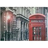 Rebecca Srl Cuadro en lienzo Gris Rojo Londres Decoration Poster de pared Art Decò Casa Salon (Cod. RE4712)