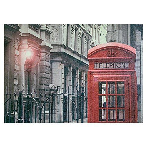 Rebecca Srl Stampa su Tela Poster da Parete Rosso Grigio Londra Cabina Telefonica Moderno Salotto Cameretta (Cod. RE4712)
