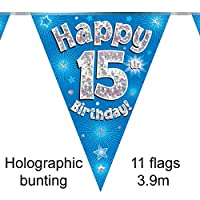 Happy 15th Birthday Blue Holographic Foil Party Bunting 3.9m Long 11 Flags