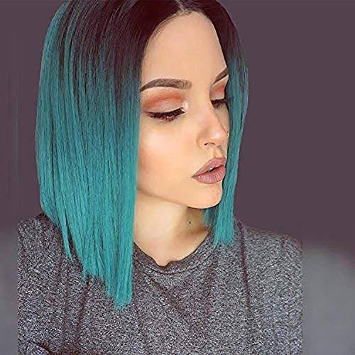 ort Straight Hair Perg Dark Green Gradient Wave Bob Frau Synthetische Per¨¹cke und Per¨¹cken. ()