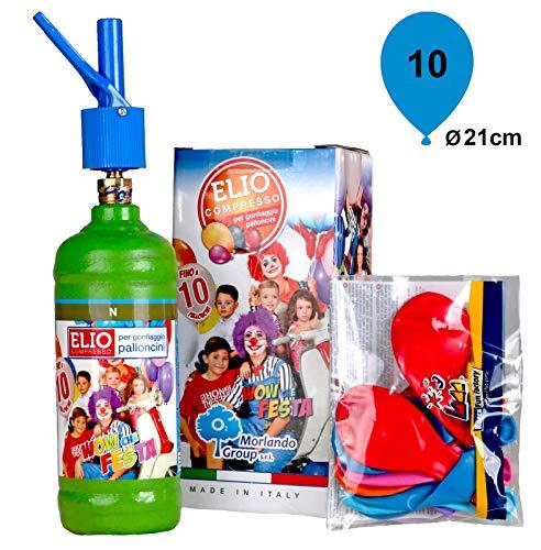 Morlando Helium Ballongas Set 0,075m³ Heliumgas + 10 Luftballons Ø 23cm + Polyband Geburtstag Hochzeit Party