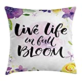 Kaixin J Lifestyle Decor Throw Pillow Cushion Cover, Live Life in Full of Blooms Motivational Quote with Floral Violets Print, Decorative Square Accent Pillow Case, 18 X 18 inches, Purple Yellow