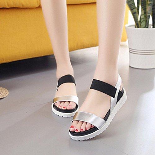 9f3cf1e843f120 FEITONG Sandalen Frauen im Alter von Leder Rom Stil flache Sandalen Damen  Schuhe Silber ...