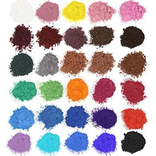 30 Couleurs Colorant de Savon, colorant résine époxy, pigments résine époxy Poudre de mica Naturel (30 x 5g) pour Savon, Bombe de Bain, slime, cosmetiques, peinture, fard à paupière,vernis à ongles