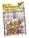 Folia 12520 - Bastelset, für 5 Perlensterne, rot/gold/perlweiß
