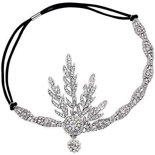 BABEYOND 1920s Stil Blatt-Medaillon Rundes Stirnband mit Perlen Inspiriert von Der Große Gatsby Accessoires für Damen (Silber UK)