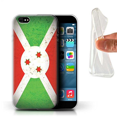 Stuff4 Gel TPU Hülle / Case für Apple iPhone 8 Plus / Tunesien/Tunesisch Muster / Afrika Flagge Kollektion Burundi/Burundisch