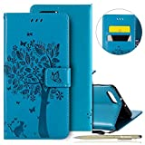 Huawei Honor View 10/Honor V10 Leather Case,Huawei Honor View 10/Honor V10 Wallet Case,Huawei Honor View 10/Honor V10 Shockproof Case,Herbests 3D Tree Cat Embossing Colorful Pattern PU Leather Flip Case with [Kickstand] Stand Function Card Holder and ID Slot Slim Flip Protective Skin Cover for Huawei Honor View 10/Honor V10 + 1 x Touch Pen-Blue