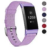 HUMENN Armband für Fitbit Charge 3 Woven Armbänd, Ersatzband Gewebte Stoff Armbands Zubehör Sport Armbänder für Fitbit Charge 3, Klein Lavendel