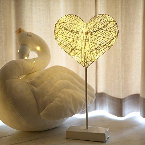 Rattan Lampe LED-Nachtlicht auf Liebe Sterne leuchten Mädchen herzen Dekoration Lampe ins Geschenk, 40 cm Liebe Lampe (Einem Ei String Auf)