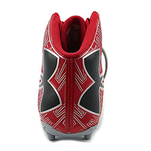 Under Armour C1N Mid D Football Cleats Synthétique Baskets Silver-Red