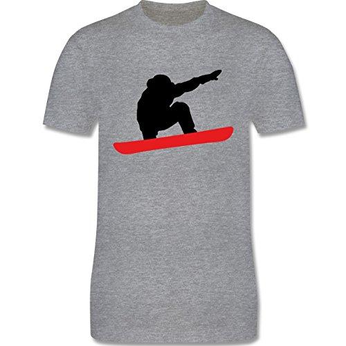 Wintersport - Snowboard Abfahrt Planke - Herren Premium T-Shirt Grau Meliert