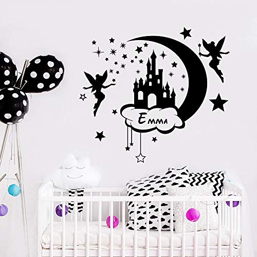 yaoxingfu Custom Name Wall Decal Removable Vinyl Fairy with Stars Wall Sticker Moon and Stars Sticker Castle Kids Bedroom Decor A  42x38cm