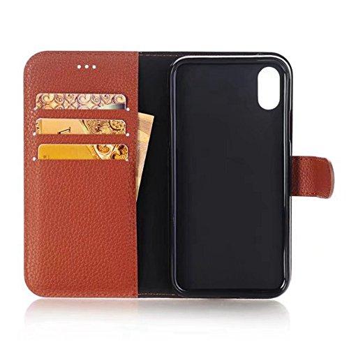 Solid Color Litchi Skin Texture Premium PU Leder Brieftasche Case Cover mit Card Slots und Kickstand für iPhone X ( Color : Red ) Brown