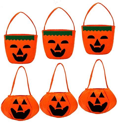 BaronHong Halloween Kürbis Süßigkeiten Taschen Goody Taschen für Halloween Leckereien Taschen (6-Pack, M)