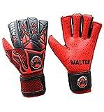 Walter Tiger Paire de gants professionnels pour gardien de but de football, avec barrettes, rouge, 7