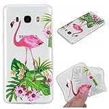 LA-Otter Coque Samsung Galaxy J3 2016 2015 Flamant Rose Fleur Ultra Fine Slim Mince Silicone TPU Gel Bumper Housse Etui Transparente avec Motif Case Cover Antichoc