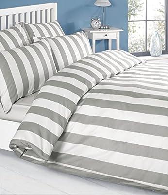 Louisiana Vertical Grey & White Stripe Duvet Cover Set Bedding 100% Cotton 200 Thread Count, Single Double King SuperKing