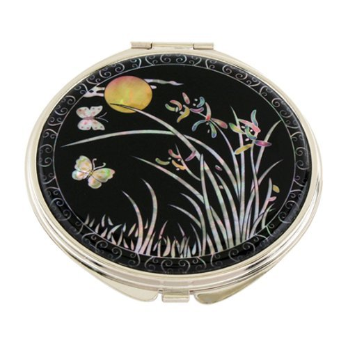 Mother of Pearl Orchid Flower and Yellow Moon Design Double Compact Magnifying Cosmetic Makeup Purse Beauty Pocket Mirror by Antique Alive - Pocket Mirror Cosmetic