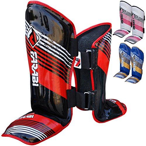 Farabi espinilleras para artes marciales para niños Junior almohadillas protección Kick Boxing MMA Muay Thai Kick Shin & pie Protectector (negro/rojo)