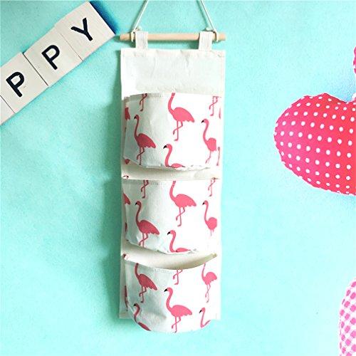 Inwagui Hängeorganizer Hängende Kombination mit 3 Tasche Wand Tür Wandschrank Speicher Beutel Baumwolltuch Hängeaufbewahrung - Flamingo A - Form Faktor Speicher